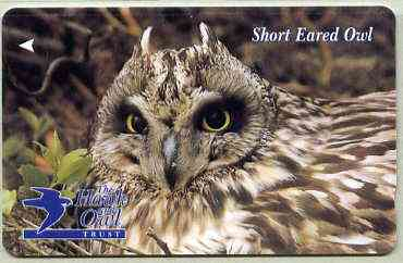 Telephone Card - Jersey �2 phone card showing Short Eared Owl (The Hawk & Owl Trust)