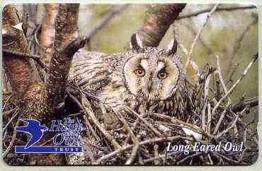 Telephone Card - Jersey �2 phone card showing Long Eared Owl (The Hawk & Owl Trust)