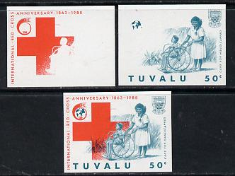 Tuvalu 1988 Red Cross 50c unmounted mint set of 3 progressive proofs comprising the 2 individual colours plus the composite as issued (but imperf)*