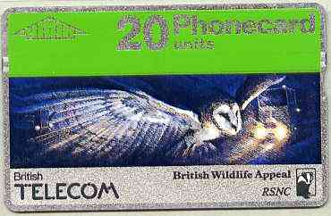 Telephone Card - Great Britain 20 units phone card showing Barn Owl in Flight (British Wildlife Appeal)