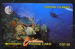 Telephone Card - Cayman Islands $7.50 phone card showing Diver and Sea bed with Corals & Fish