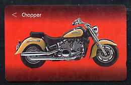 Telephone Card - Singapore $20 phone card showing Chopper Motorcycle