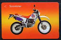 Telephone Card - Singapore $10 phone card showing Scrambler Motorcycle