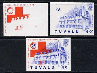 Tuvalu 1988 Red Cross 40c unmounted mint set of 3 progressive proofs comprising the 2 individual colours plus the composite as issued (but imperf)*