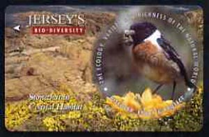 Telephone Card - Jersey �2 phone card showing Stonechat (Bio Diversity)