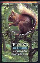 Telephone Card - Jersey �2 phone card showing Red Squirrel (Bio Diversity)