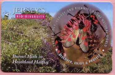 Telephone Card - Jersey �2 phone card showing Burnet Moth (Bio Diversity)