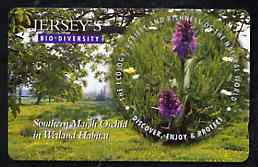 Telephone Card - Jersey �2 phone card showing Marsh Orchid (Bio Diversity)