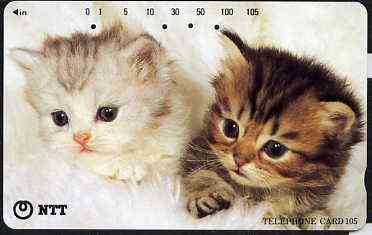 Telephone Card - Japan 105 units phone card showing two Kittens (card dated 1.12.1995)