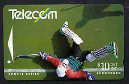 Telephone Card - New Zealand $10 phone card showing Field Hockey Player (Sports Series)