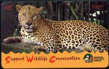 Telephone Card - Singapore $10 phone card showing Leopard (Wildlife Conservation Series)