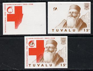 Tuvalu 1988 Red Cross 15c set of 3 imperf progressive proofs comprising the 2 individual colours plus the composite as issued (but imperf) unmounted mint*
