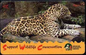 Telephone Card - Singapore $20 phone card showing Jaguar (Wildlife Conservation Series)