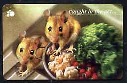 Telephone Card - Singapore $10 phone card showing 2 Mice (Caught in the act)