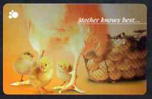 Telephone Card - Singapore $20 phone card showing 3 Baby Chicks (Mother knows best)