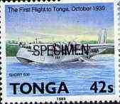 Tonga 1989 Short S-30 G Class Flying Boat 42s from Aviation in Tonga set opt'd SPECIMEN unmounted mint, as SG 1055