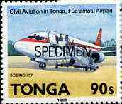 Tonga 1989 Boeing 737 90s from Aviation in Tonga set opt'd SPECIMEN, as SG 1057 unmounted mint