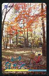 Telephone Card - Japan 105 units phone card showing Bicycle in Woodland Scene (card dated 1.4.1991)