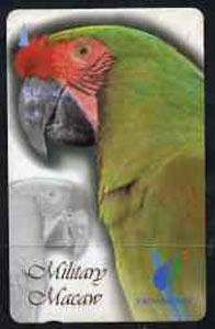 Telephone Card - Singapore $10 phone card showing Military Macaw