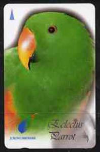 Telephone Card - Singapore $20 phone card showing Eclectus Parrot