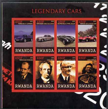 Rwanda 2009 Legendary Cars & Designers imperf sheetlet containing 8 values unmounted mint