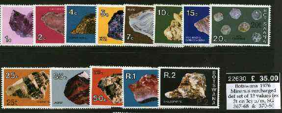 Botswana 1976 Minerals surcharged definitive set of 13 values (ex 3t on 3c) unmounted mint, SG 367-68 & 370-80