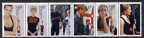 Kyrgyzstan 1998 Princess Diana 1st Death Anniversary se-tenant strip of 6 unmounted mint