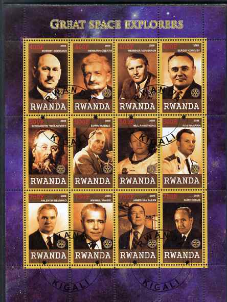 Rwanda 2009 Great Space Explorers & Scientists perf sheetlet containing 12 values cto used each with Rotary Logo (Goddard, Von braun, Hubble,Armstrong, Gagarin, van Allen etc)