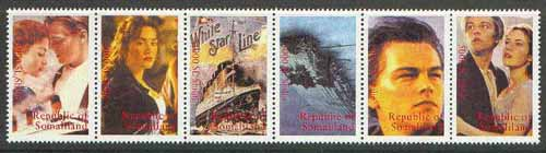 Somaliland 1998 Titanic se-tenant strip of 6 unmounted mint