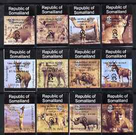 Somaliland 1998 Indigenous Animals imperf set of 12 values unmounted mint with Scout Jamboree opt in black*