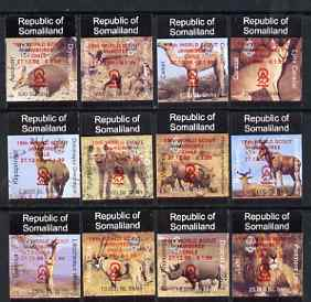 Somaliland 1998 Indigenous Animals imperf set of 12 values unmounted mint with Scout Jamboree opt in red*