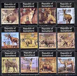 Somaliland 1998 Indigenous Animals perf set of 12 values unmounted mint with Scout Jamboree opt in black*