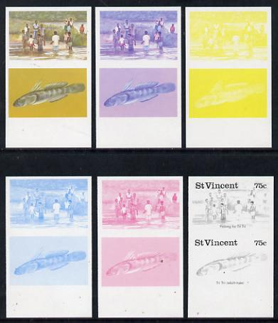 St Vincent 1986 Freshwater Fishing (Tri Tri) 75c set of 6 imperf progressive proofs in se-tenant pairs comprising the 4 individual colours plus 2 & 3-colour composites (as SG 1045a) unmounted mint
