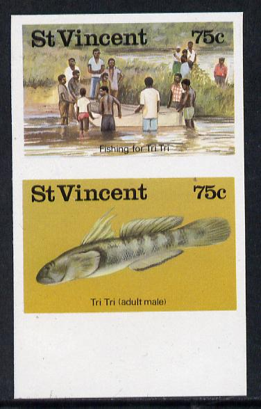 St Vincent 1986 Freshwater Fishing (Tri Tri) 75c unmounted mint imperf se-tenant pair (as SG 1045a)