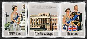 Ajman 1972 Silver Wedding se-tenant strip of 3 unmounted mint