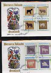 Bernera 1984 Rotary - Domestic Cats imperf set of 8 values on two covers with first day cancels