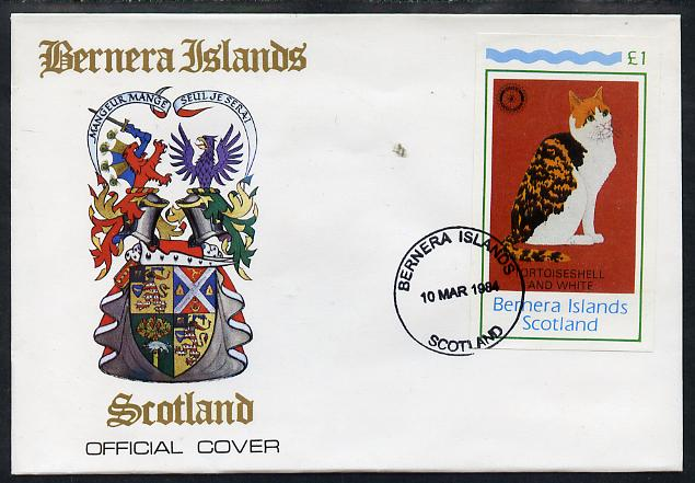 Bernera 1984 Rotary (Tortoiseshell Cat) imperf souvenir sheet (\A31 value) on cover with first day cancel