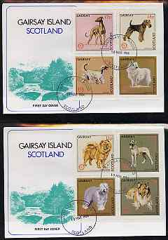 Gairsay 1984 Rotary -Dogs perf set of 8 values on two covers with first day cancels