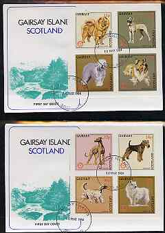Gairsay 1984 Rotary -Dogs imperf set of 8 values on two covers with first day cancels