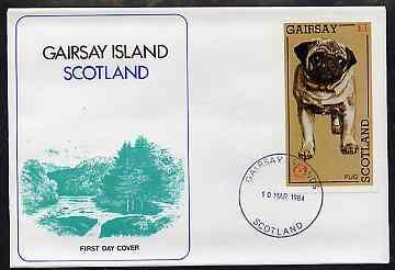 Gairsay 1984 Rotary -Dogs (Pug) imperf souvenir sheet (\A31 value) on cover with first day cancel