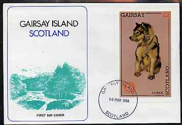 Gairsay 1984 Rotary -Dogs (Huskie) imperf deluxe sheet (\A32 value) on cover with first day cancel