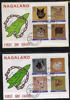 Nagaland 1984 Rotary - Domestic Cats perf set of 8 values on two covers with first day cancels