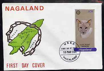 Nagaland 1984 Rotary (Lilac Point Siamese Cat) 1ch imperf souvenir sheet on cover with first day cancel, stamps on animals  cats  rotary