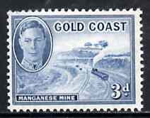 Gold Coast 1948 KG6 3d light blue (Manganese Mine) unmounted mint from def set, SG 140*