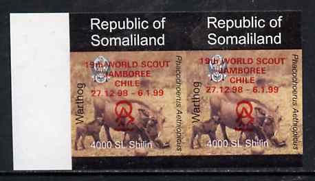 Somaliland 1998 Warthog 4,000 SL (from Animal def set) unmounted mint imperf pair with Scout Jamboree opt in red