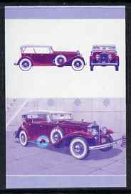 St Vincent - Bequia 1987 Cars #7 (Leaders of the World) $1.75 (1933 Stutz DV32 Phaeton) imperf se-tenant progressive colour proof pair in magenta & blue only unmounted mi...