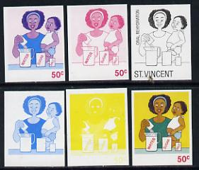 St Vincent 1987 Child Health 50c (as SG 1050) set of 6 progressive proofs comprising the 4 individual colours plus 2 and 3-colour composites unmounted mint