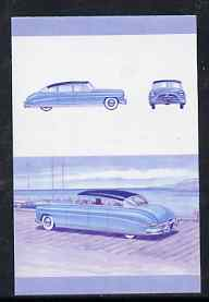 St Vincent - Bequia 1987 Cars #7 (Leaders of the World) 5c (1952 Hudson Hornet) imperf se-tenant progressive colour proof pair in magenta & blue only unmounted mint