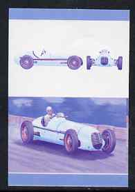 St Vincent - Bequia 1987 Cars #7 (Leaders of the World) 20c (1939 Maserati  8 CTF) imperf se-tenant progressive colour proof pair in magenta & blue only unmounted mint