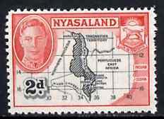 Nyasaland 1945 Map of Nyasaland 2d unmounted mint from KG6 def set, SG 147*